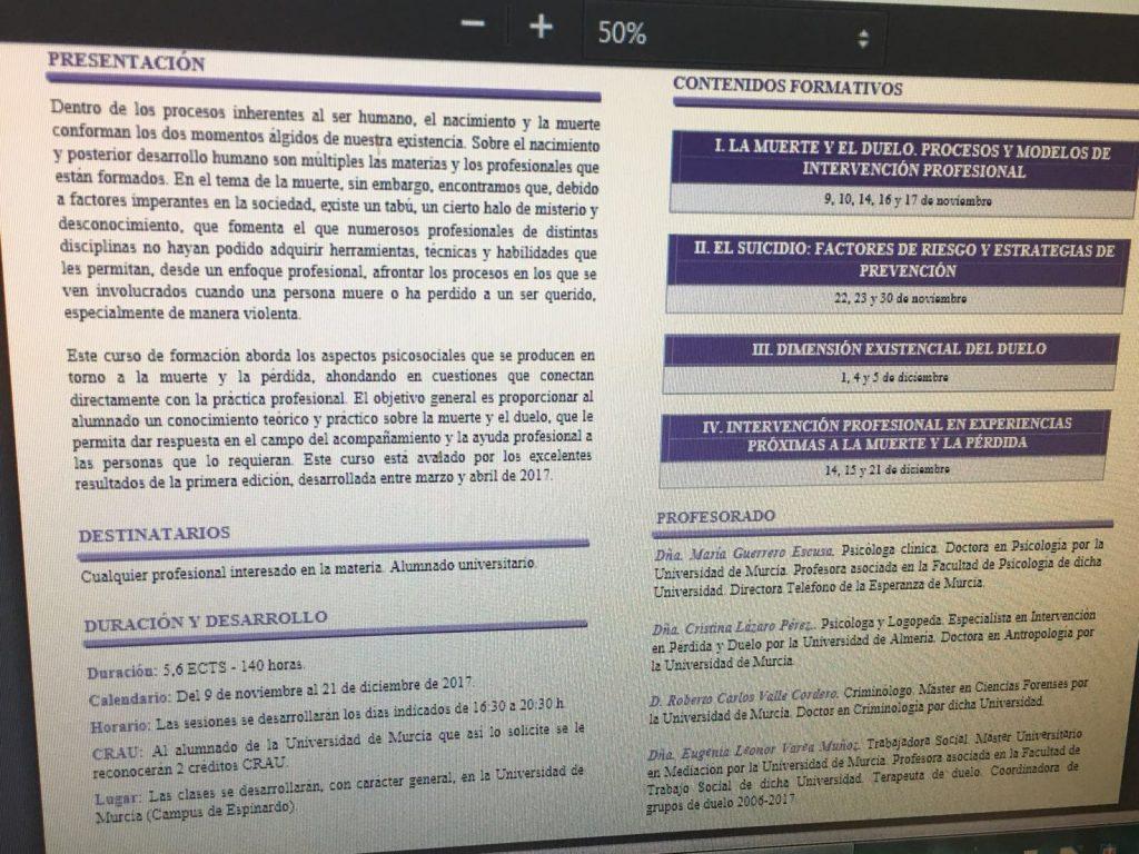 II CURSO DE INTERVENCIÓN SOCIAL Y ACOMPAÑAMIENTO EN PROCESOS DE MUERTE